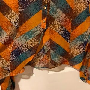 Astr Tops - Astr Orange Multicolored Pattern Top